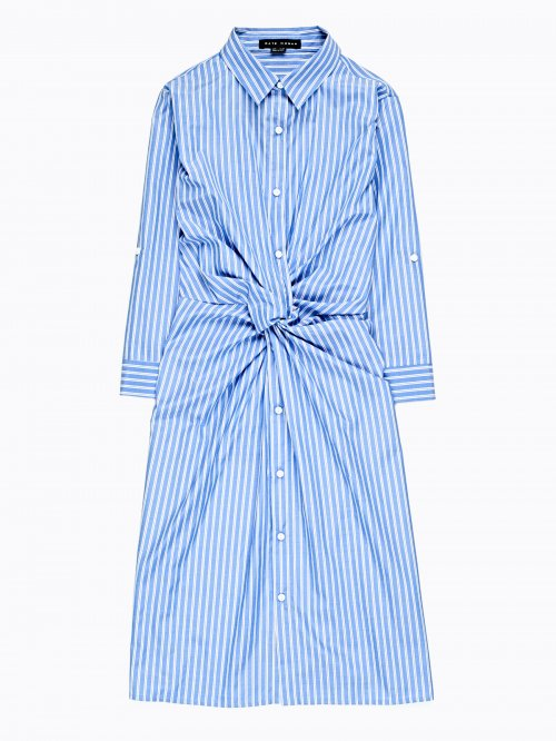 Striped shirt dress with knot