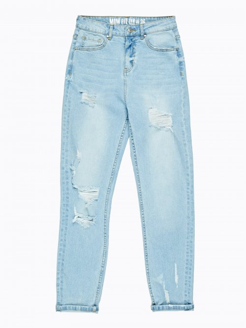 Damaged skinny high-waist jeans