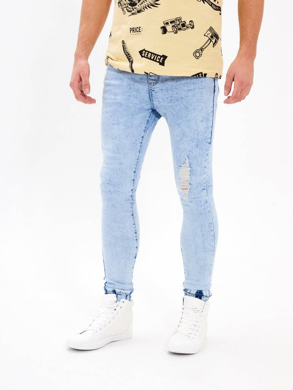 Ripped jogger fit jeans