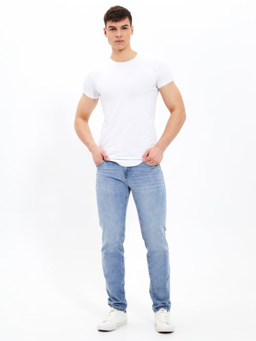 Basic cotton straight fit jeans