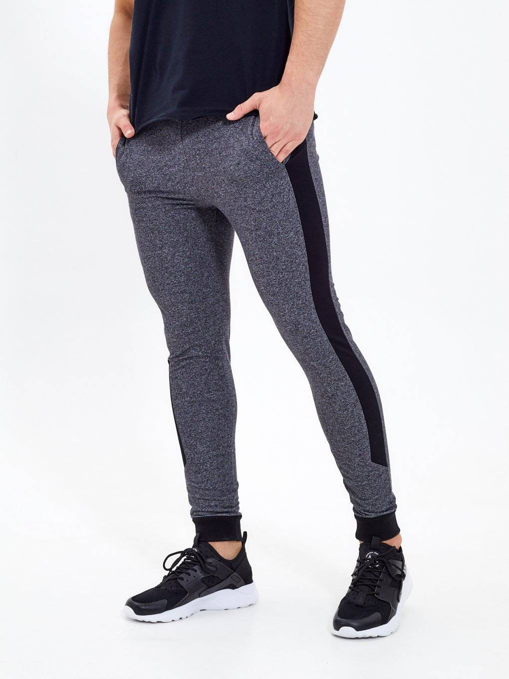 Stretch sweatpants with side panel
