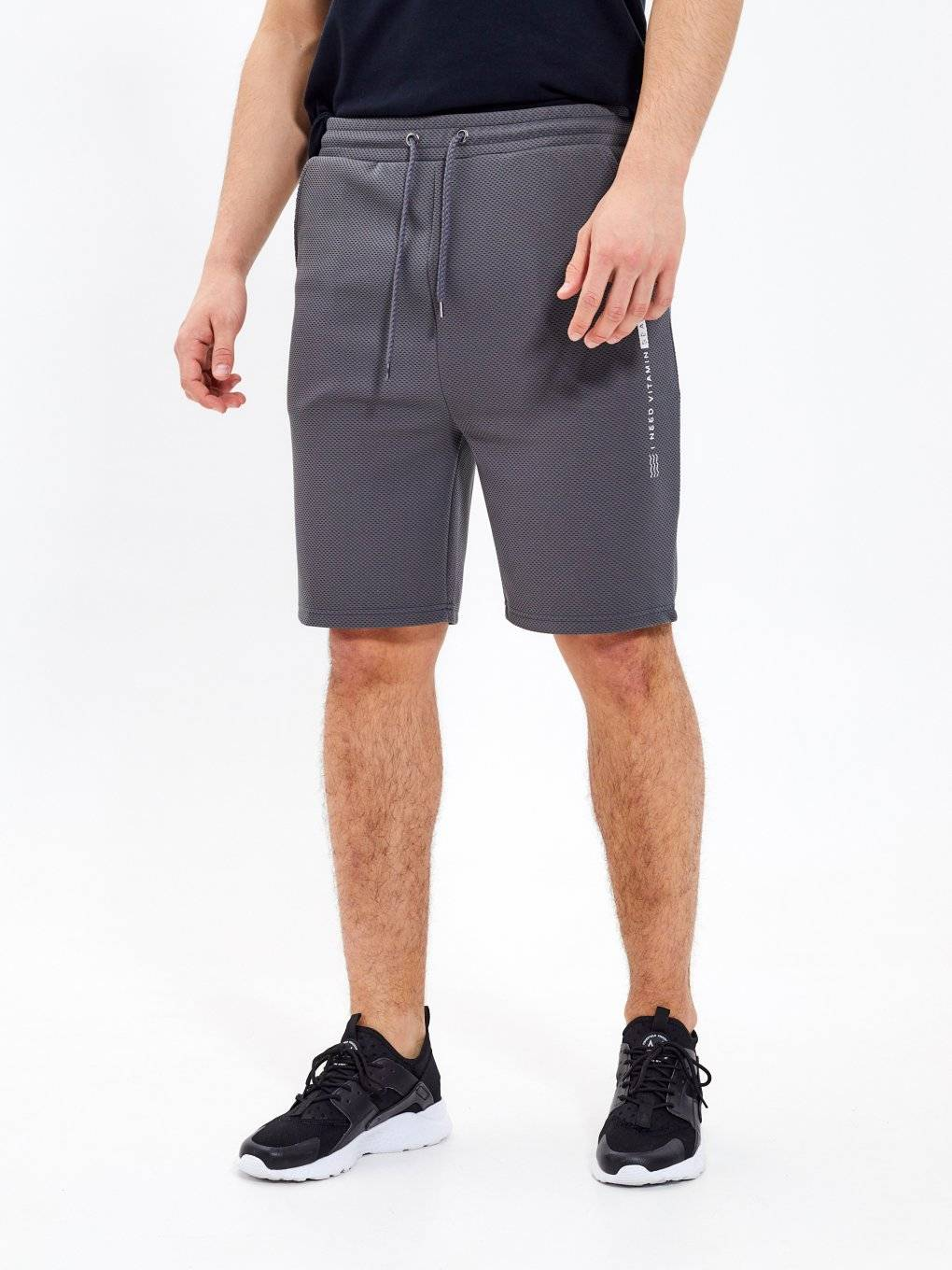Structured sweatshorts with print