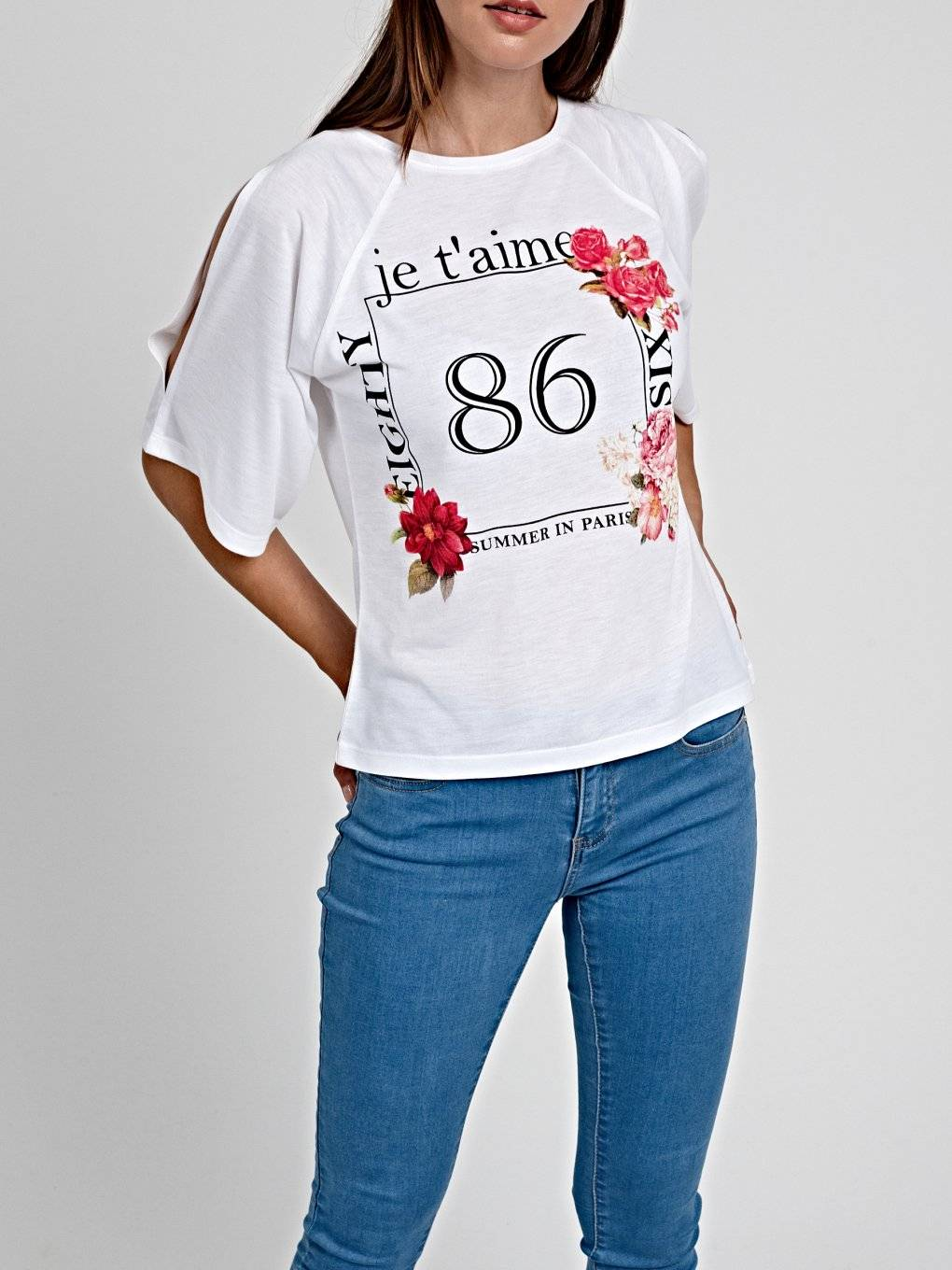 COLD SHOULDER T-SHIRT WITH PRINT