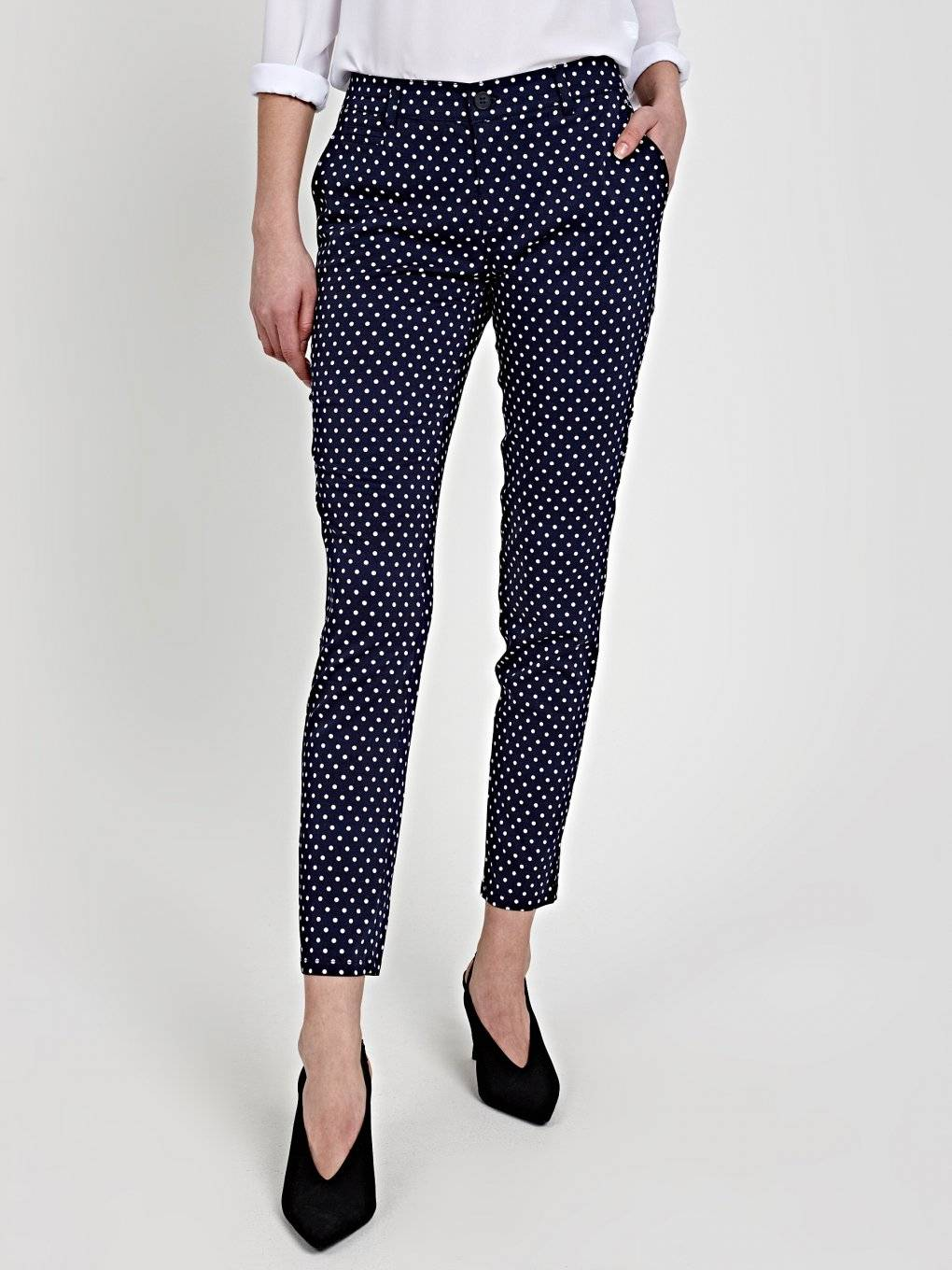 POLKA DOT PRINT STRETCH TROUSERS