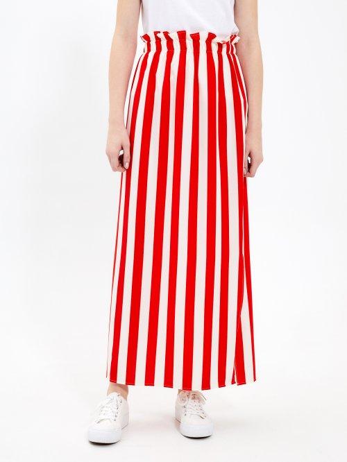 Proužkovaná dlouhá sukně s vysokým pasem 762eeb58bd