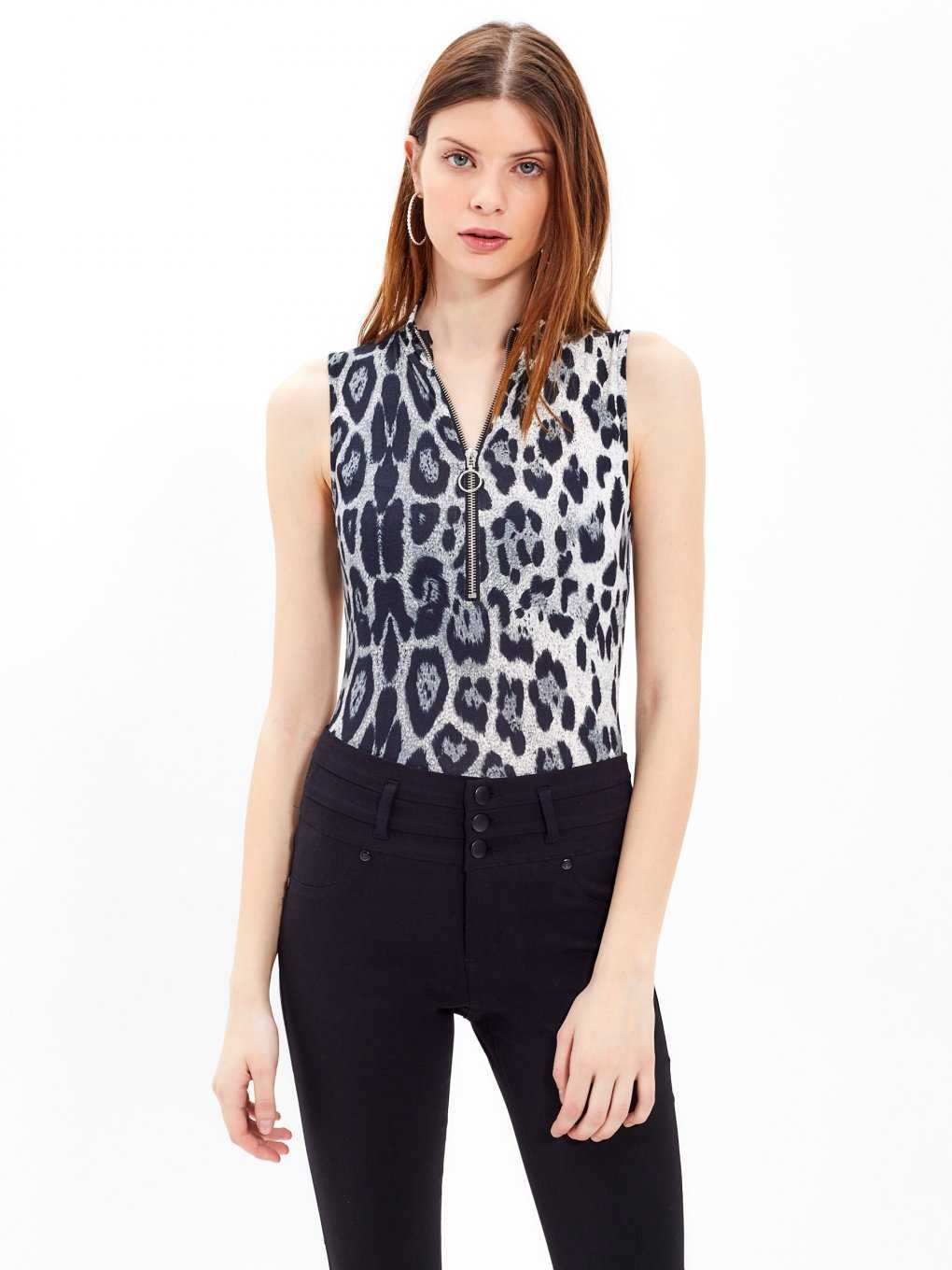 Sleeveless bodysuit with animal print