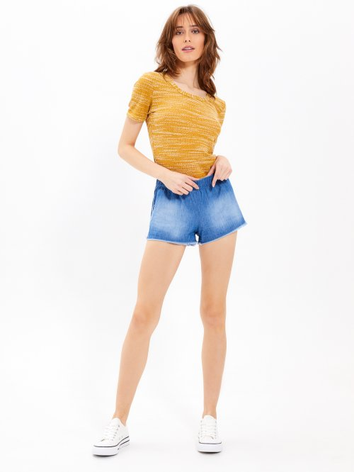 Shorts with raw edges