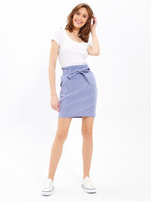 Striped paper bag skirt
