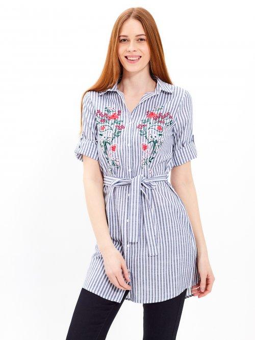 a119fc6680a0e Prúžkované košeľové šaty s výšivkou