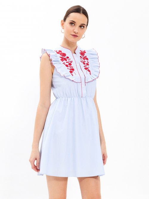 Striped dress with embroidery