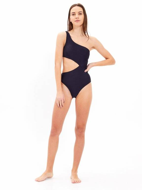 One-shoulder colour block swimsuit