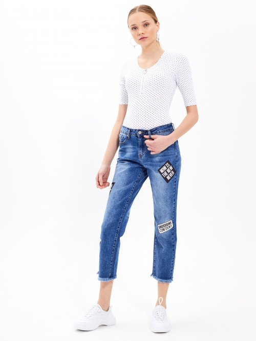 Cropped jeans with print