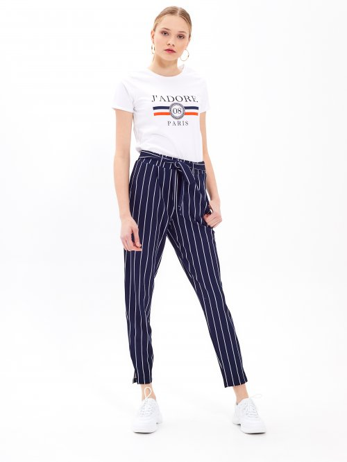 Paper bag striped trousers