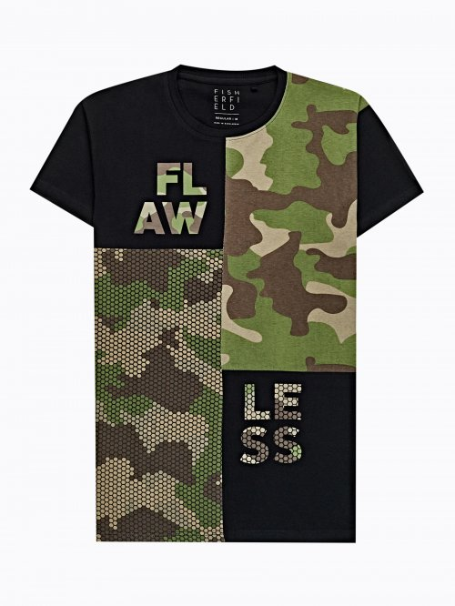 Combined camo print t-shirt