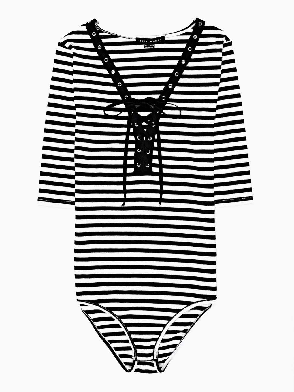 STRIPED BODYSUIT WITH FRONT LACING