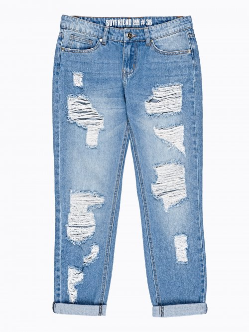 DAMAGED BOYFRIEND JEANS IN MID BLUE WASH
