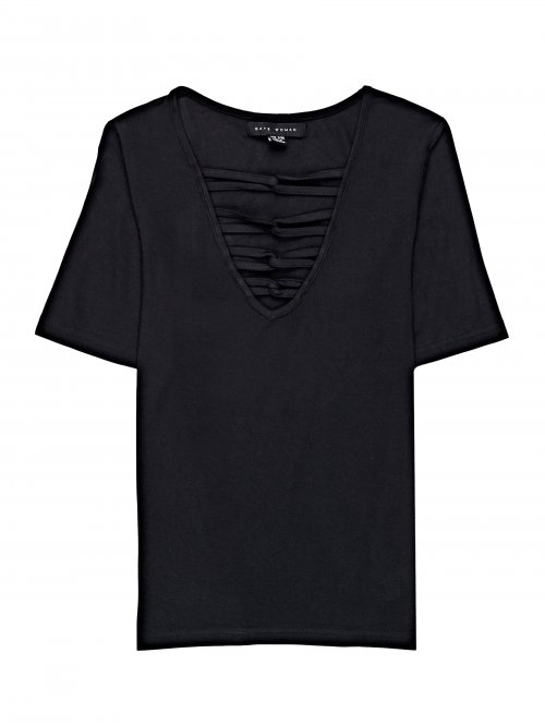 VISCOSE V-NECK T-SHIRT