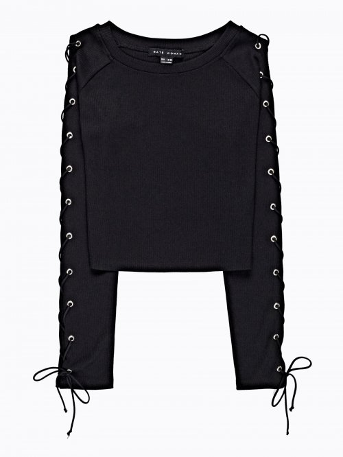 CROP JUMPER WITH SLEEVE LACING