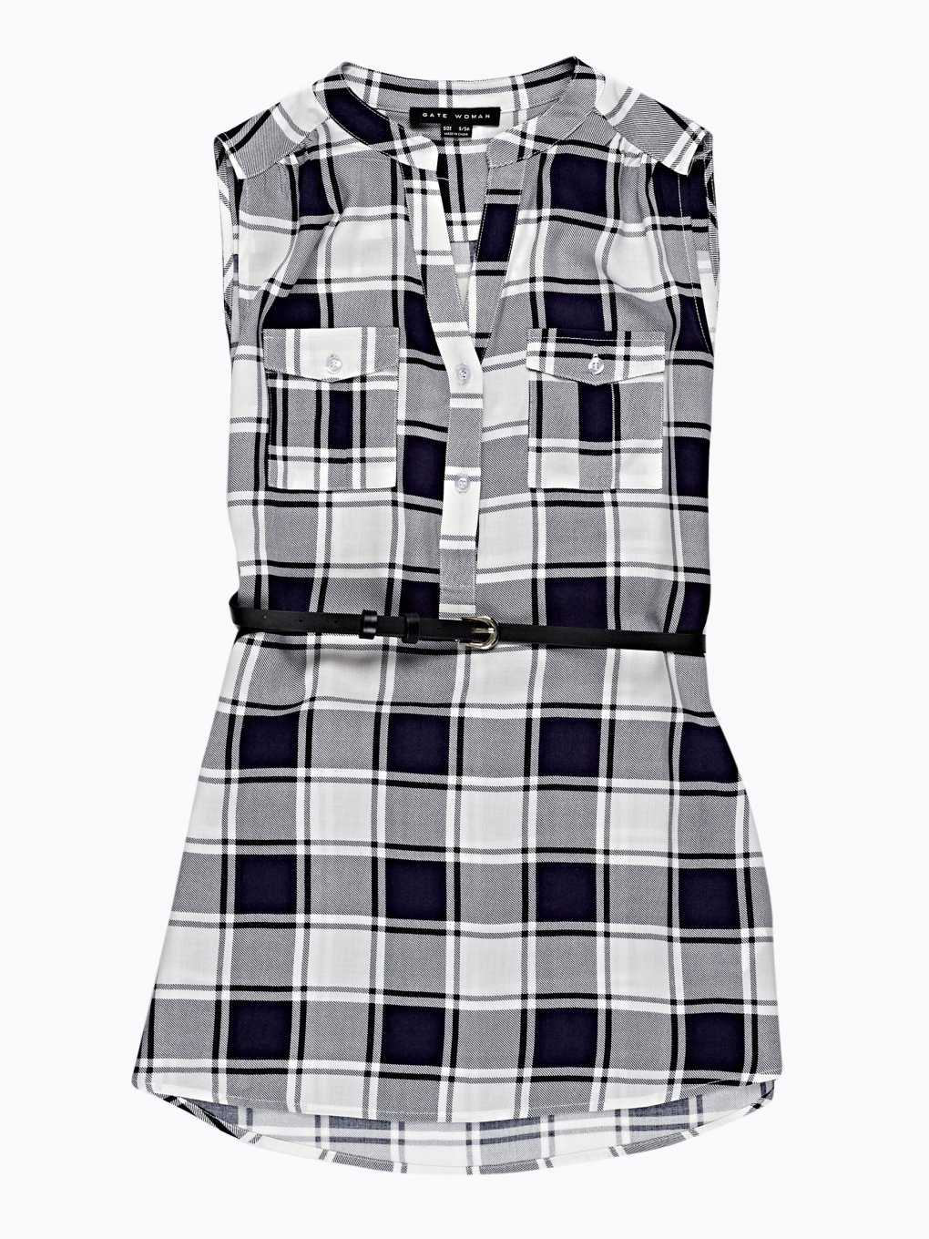 LONGLINE CHECKED TOP WITH BELT