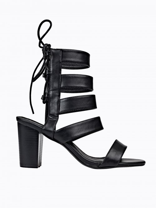 BLOCK HEELED LACE-UP SANDALS