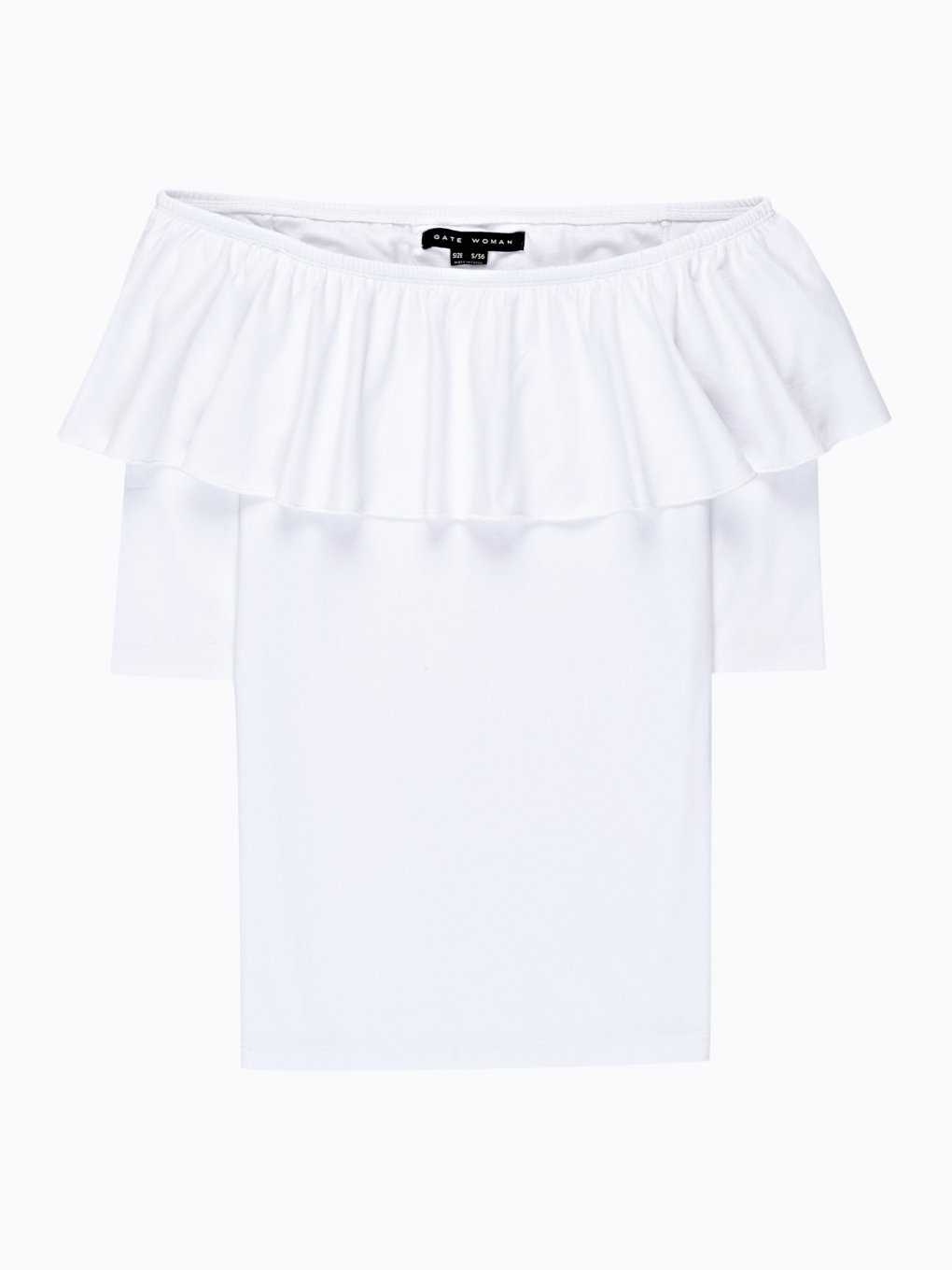 OFF-THE-SHOULDER RUFFLE T-SHIRT
