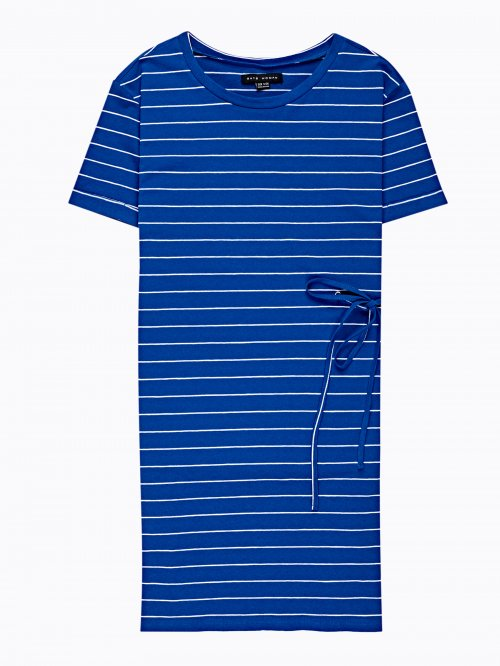PROLONGED STRIPED T-SHIRT WITH LACING DETAIL