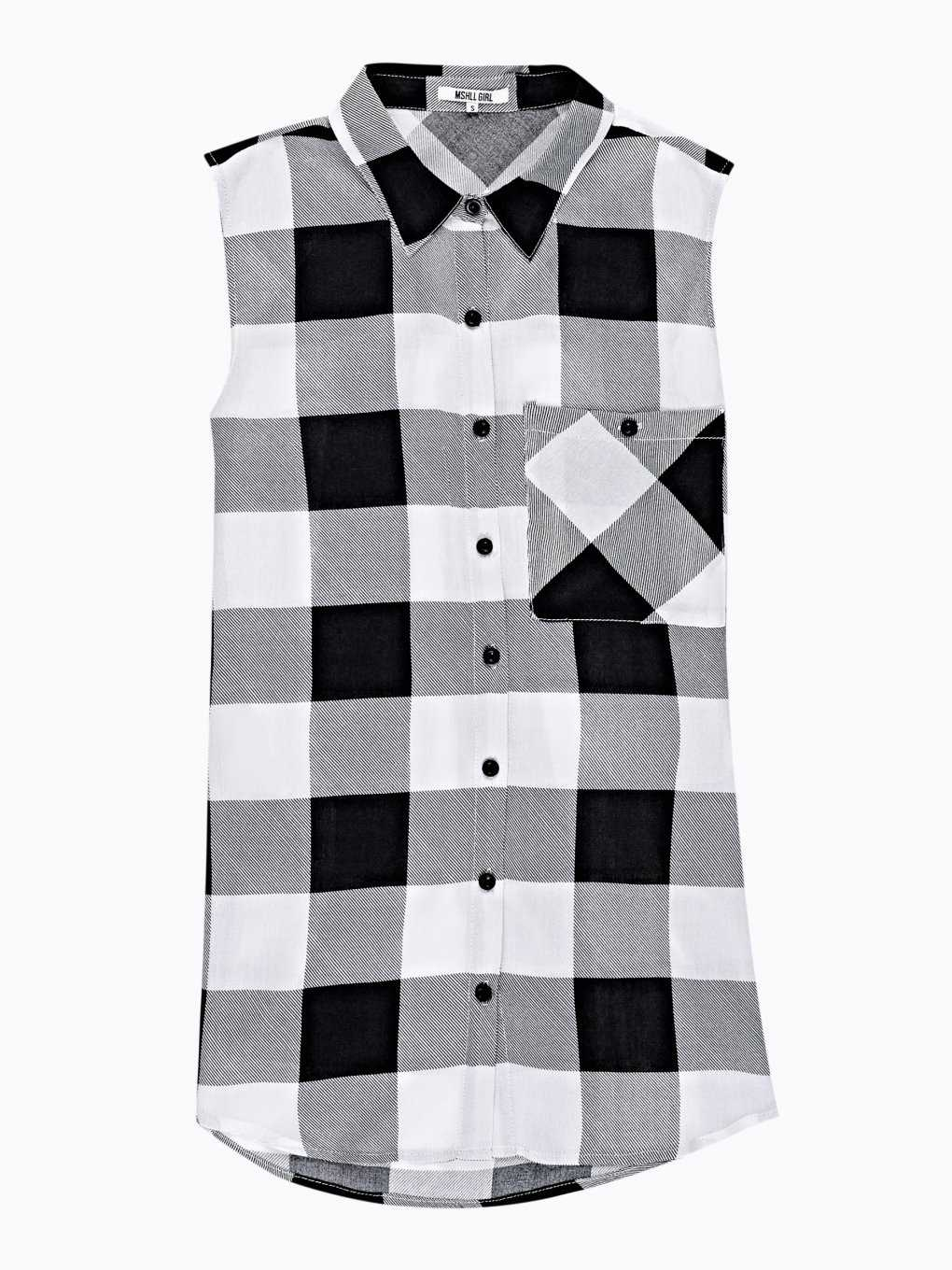 LONGLINE PLAID SLEEVELESS SHIRT