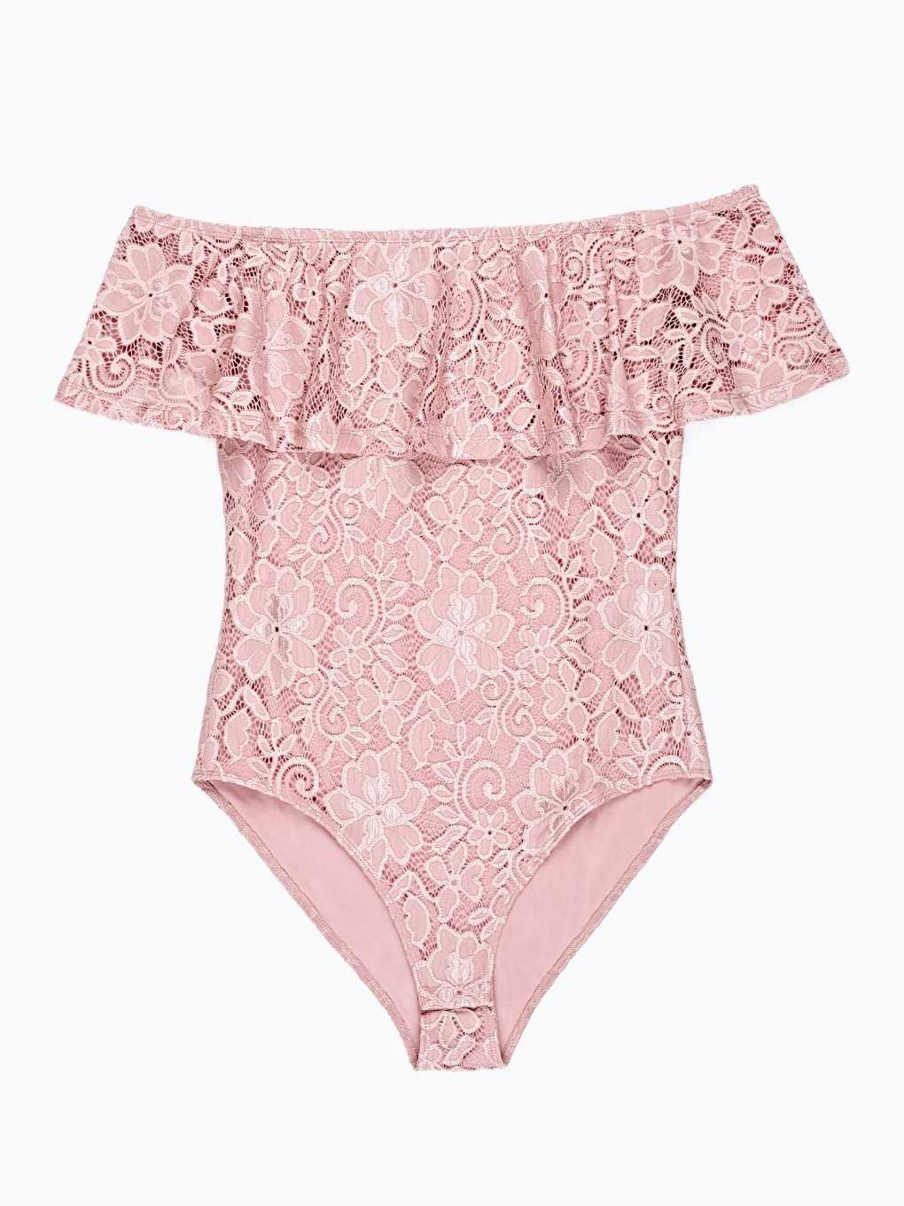 LACE BODYSUIT WITH RUFFLE
