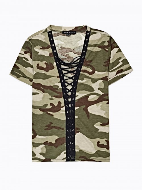CAMO PRINT TOP WITH FRONT LACING