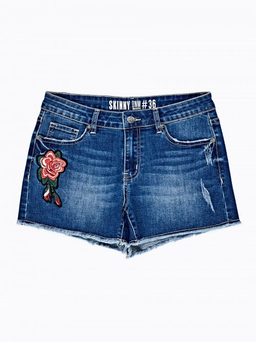 DENIM SHORTS WITH EMBROIDERY