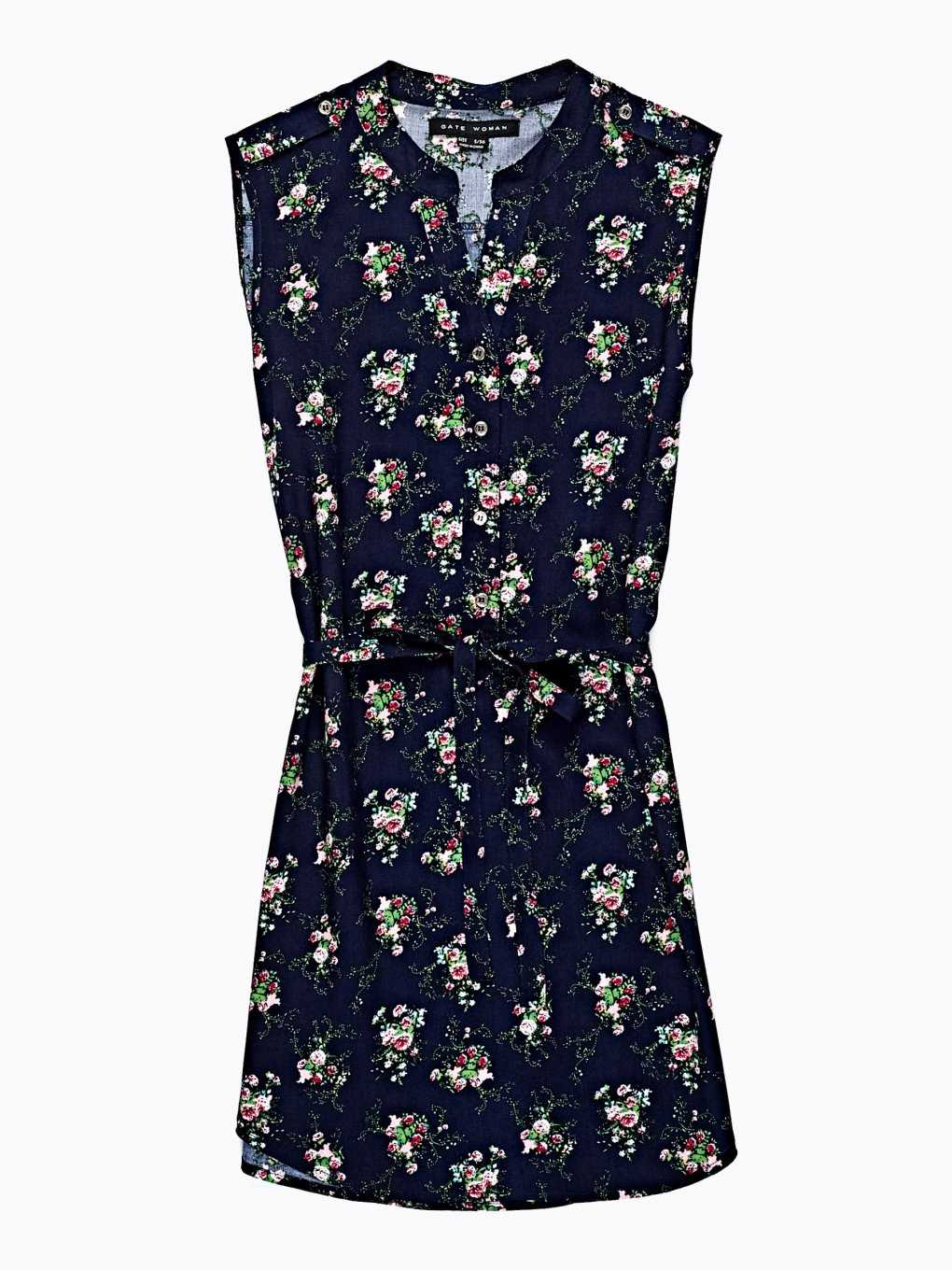 LONGLINE SLEEVELESS BLOUSE  WITH FLOWER PRINT