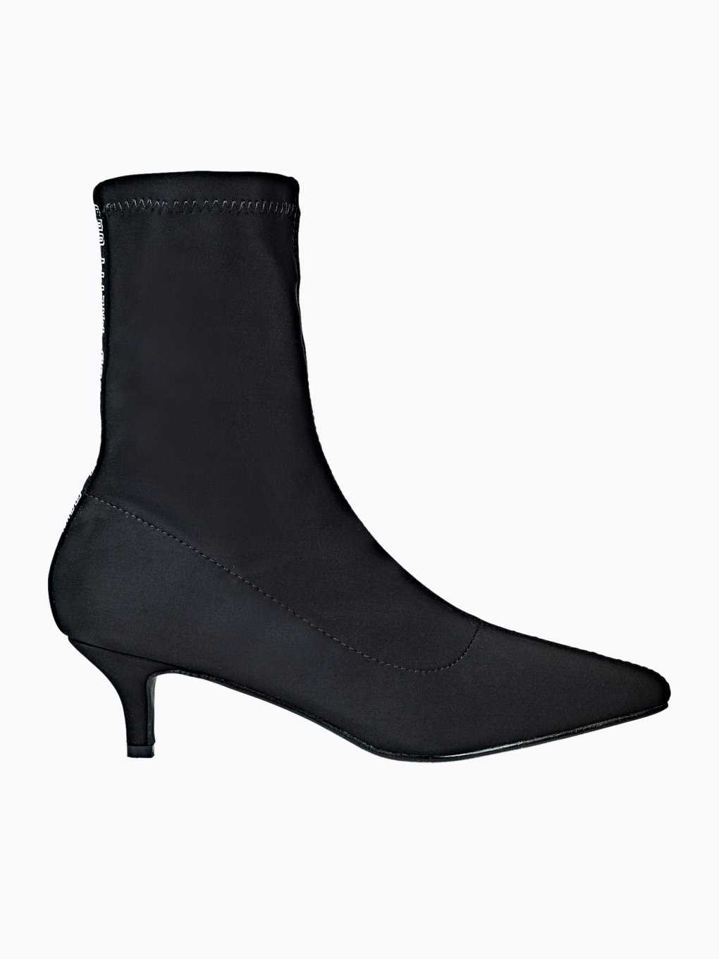 Mid heel ankle sock style boots with tape