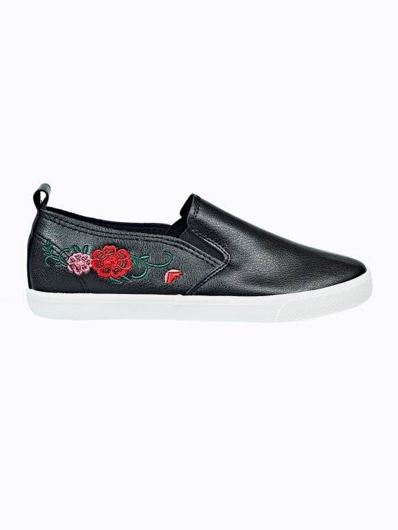 Embroidered slip-ons