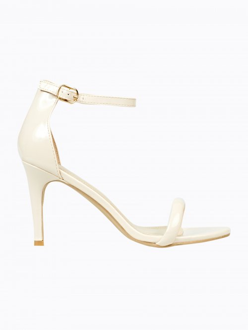 Faux patent high heel sandals