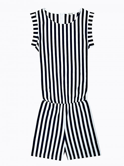 Striped jumpsuit with pockets