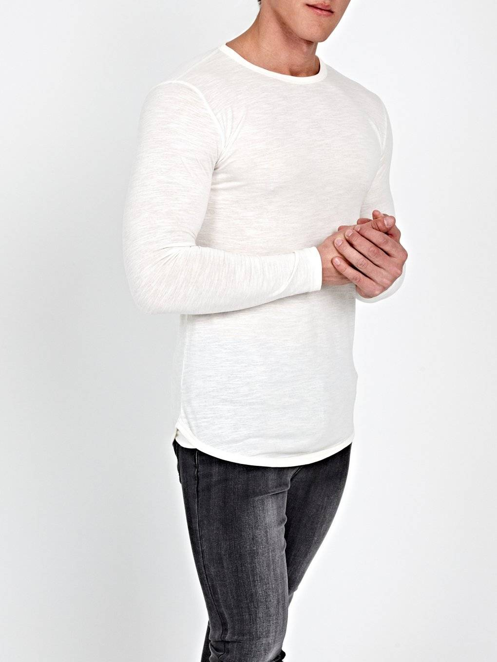 SCOOP HEM SLUB JERSEY T-SHIRT