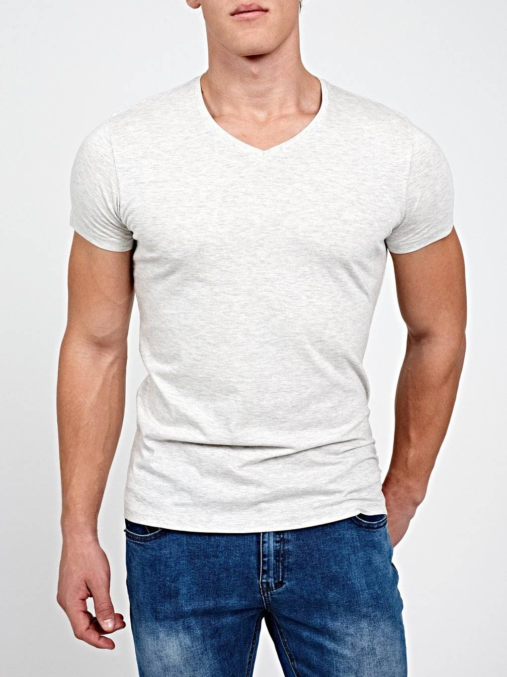 BASIC REGULAR FIT V-NECK T-SHIRT