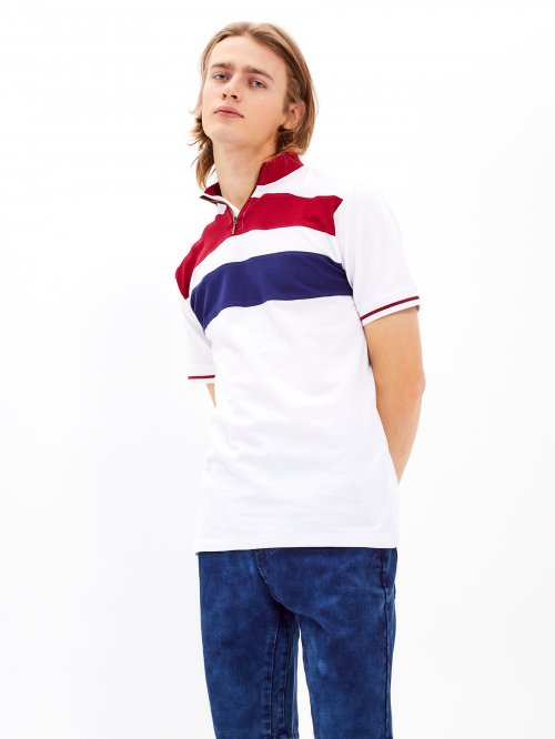 Pique t-shirt with stand-up collar