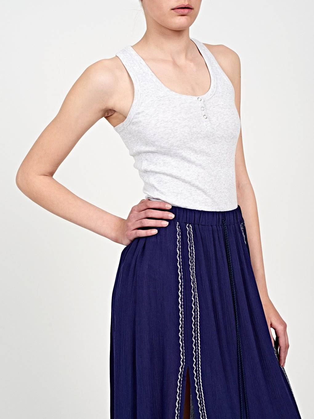 Basic rib-knit tank top with front buttons
