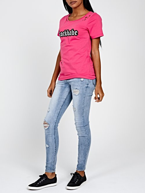 DISTRESSED T-SHIRT WITH PRINT