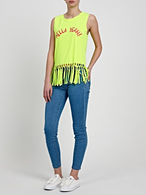 MESSAGE PRINT TOP WITH TASSELS