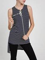 LONGLINE STRIPED TOP WITH FRONT LACING