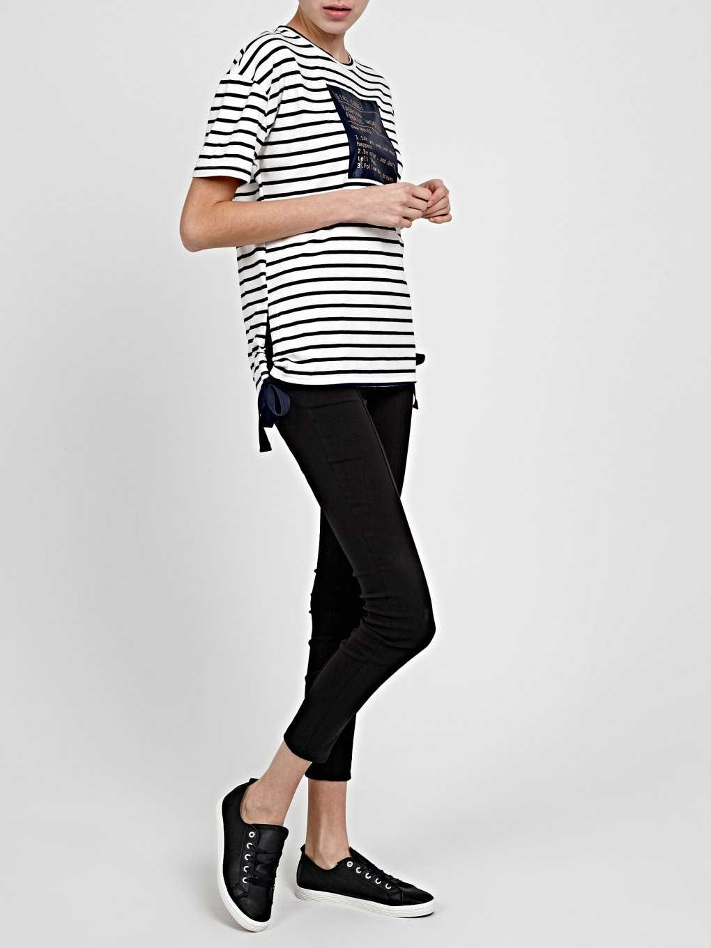 STRIPED T-SHIRT WITH PATCH