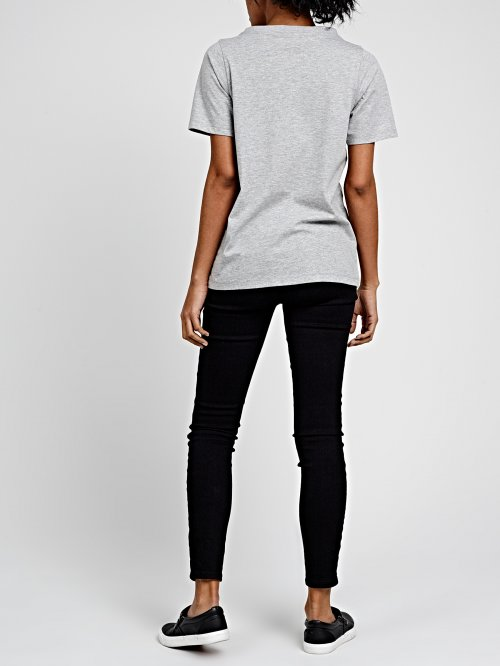 CHOKER NECK T-SHIRT WITH MESSAGE PRINT