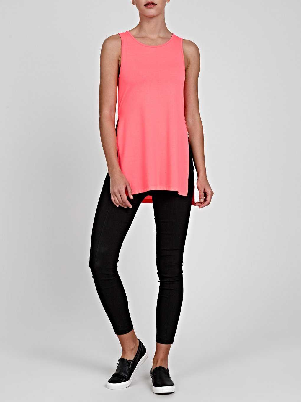 LONGLINE TANK TOP WITH SIDE SLITS