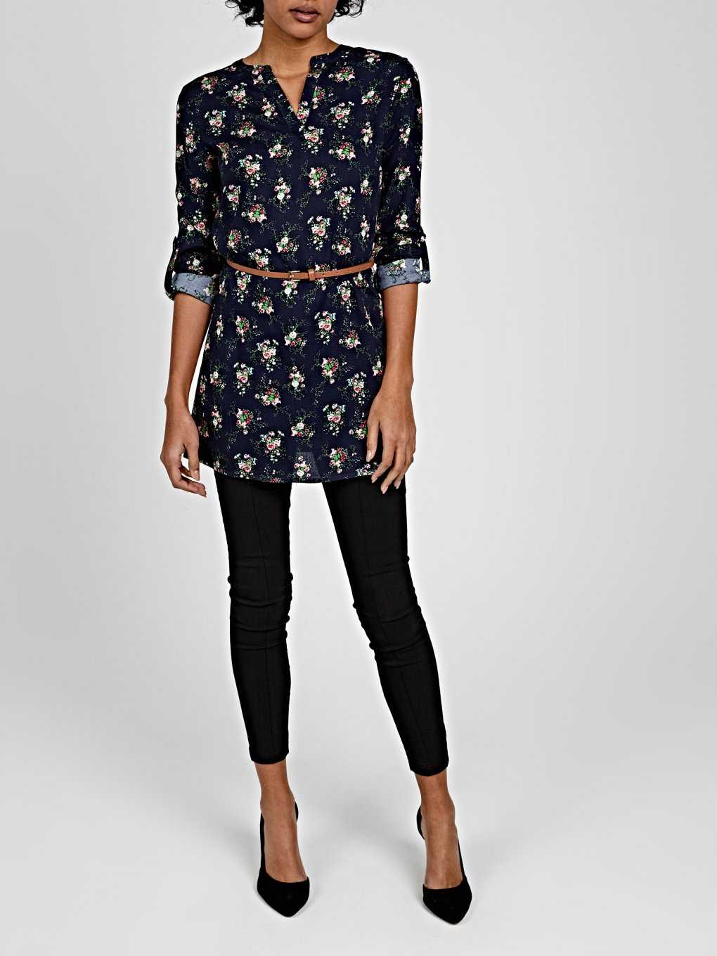LONGLINE FLORAL PRINT BLOUSE WITH BELT