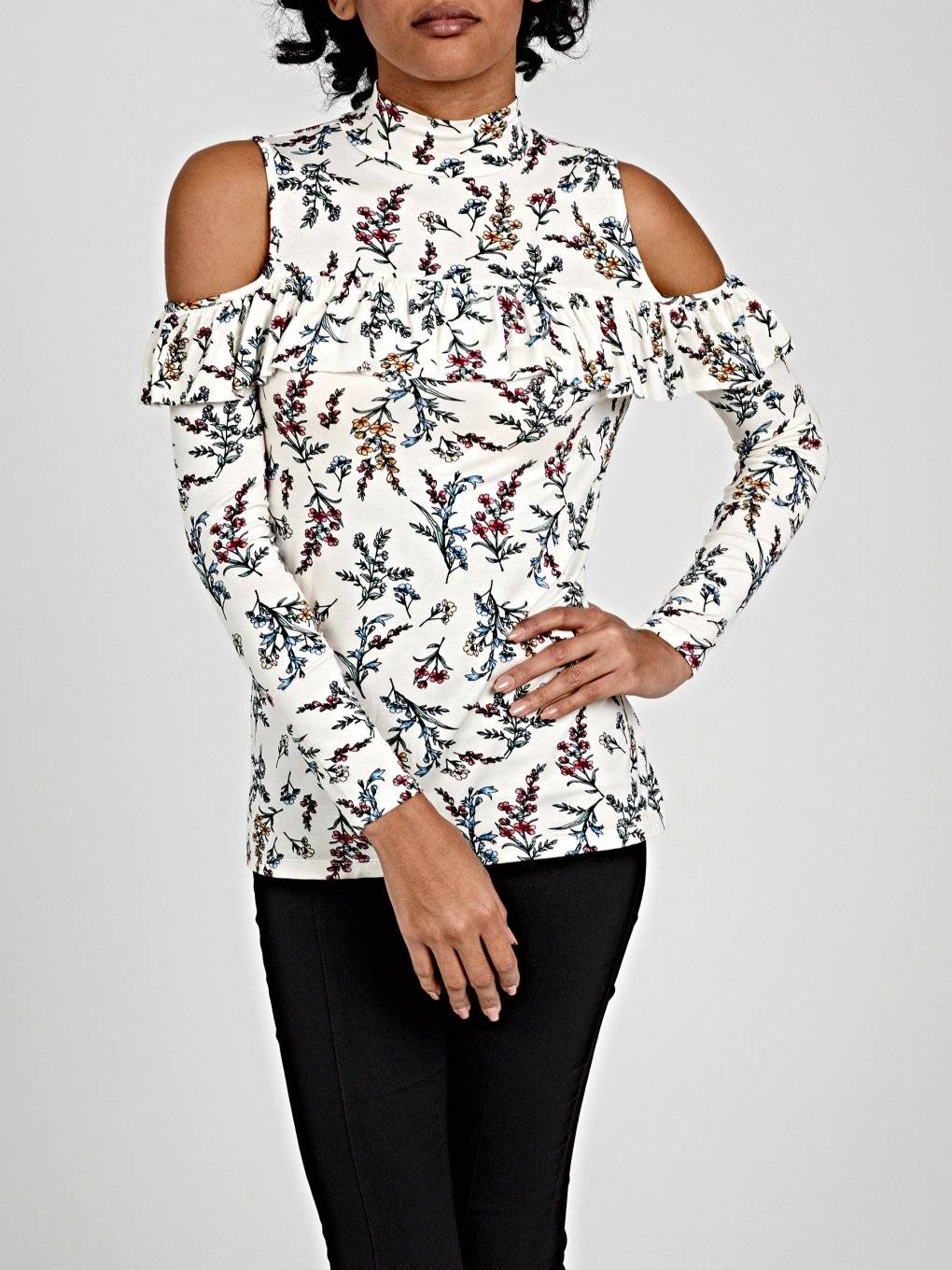 FLORAL PRINT COLD-SHOULDER RUFFLE TOP