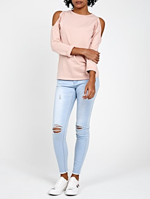 COLD-SHOULDER SWEATSHIRT