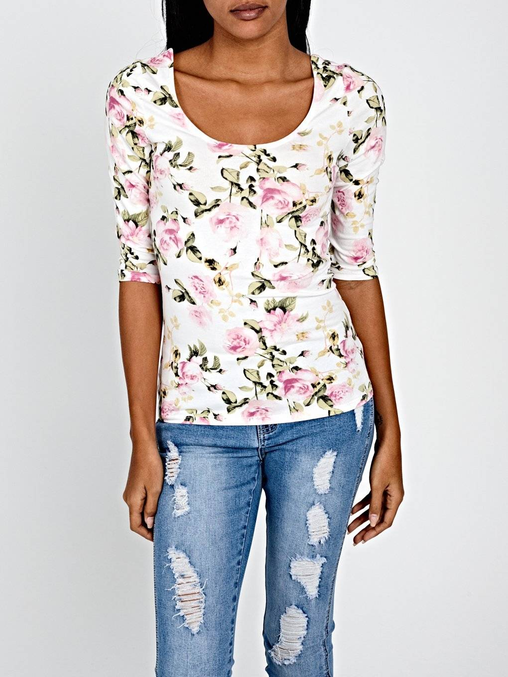 FLORAL PRINT STRETCH T-SHIRT