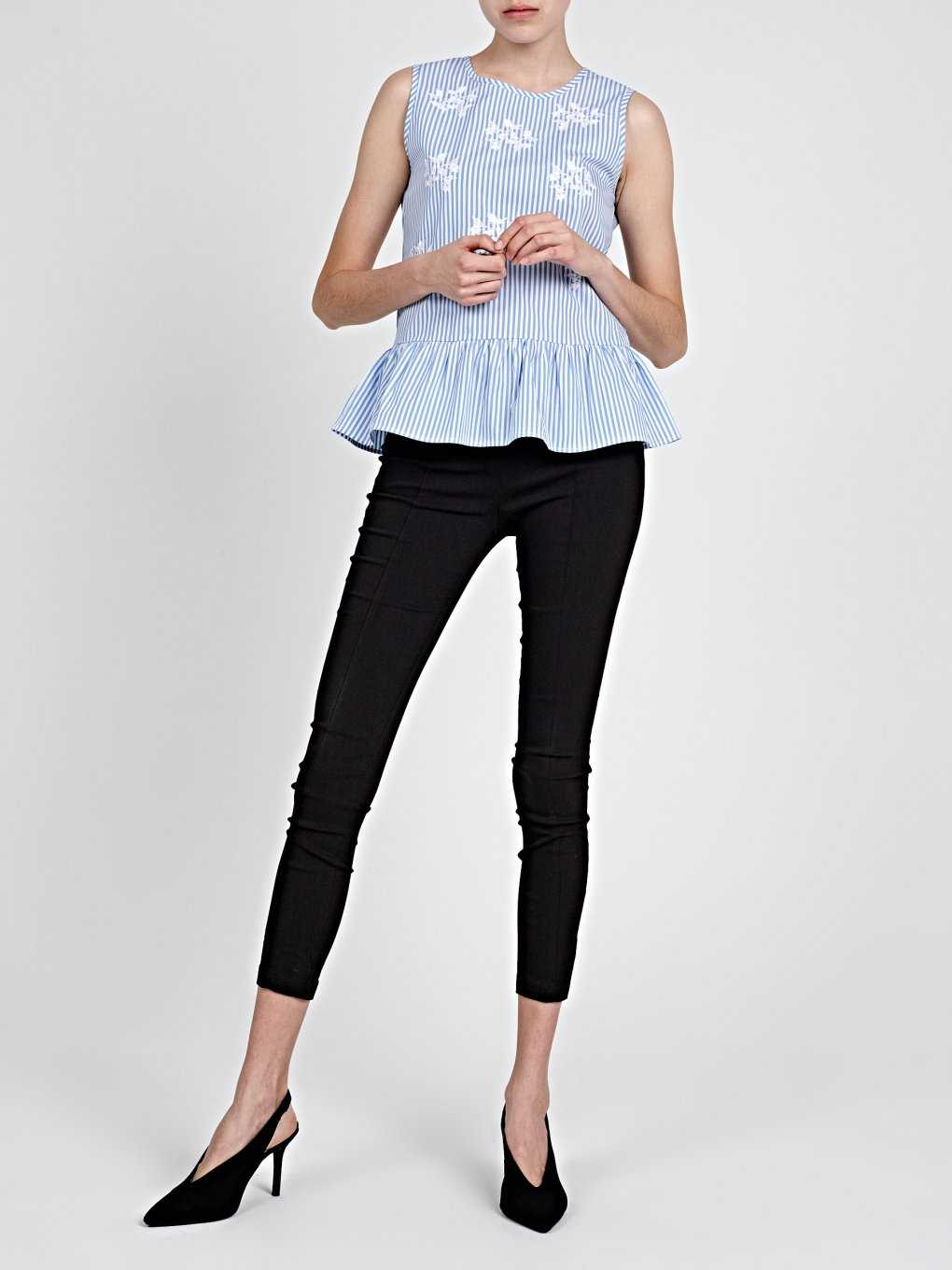STRIPED PEPLUM TOP WITH EMBROIDERY